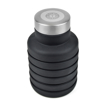 500ml Collapsible Silicone Water Bottles - Black Collapsed